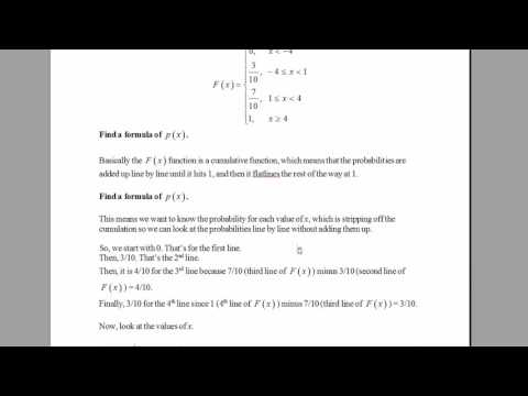 How to Find p(x) When You Are Given the CDF (Cumulative Distributive Function). [HD]