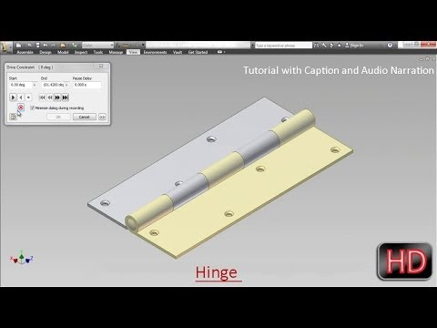 Autodesk Inventor Modelling and Animation Tutorial--'Hinge' (with caption and audio narration)