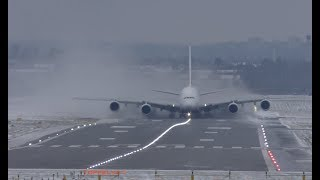 Download Airbus A380 Extreme weather crosswind landing and takeoff Lots of Snow spray