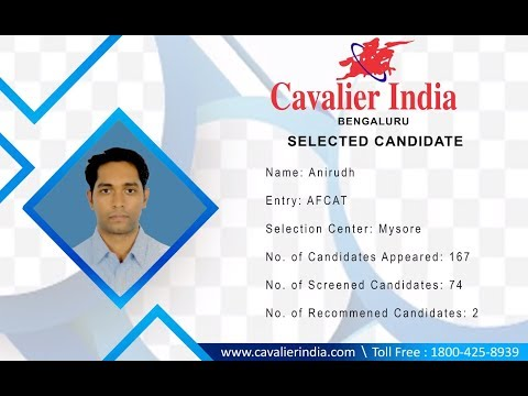 SSB Selected Candidate Anirudh || AFCAT 2018 || Cavalier India