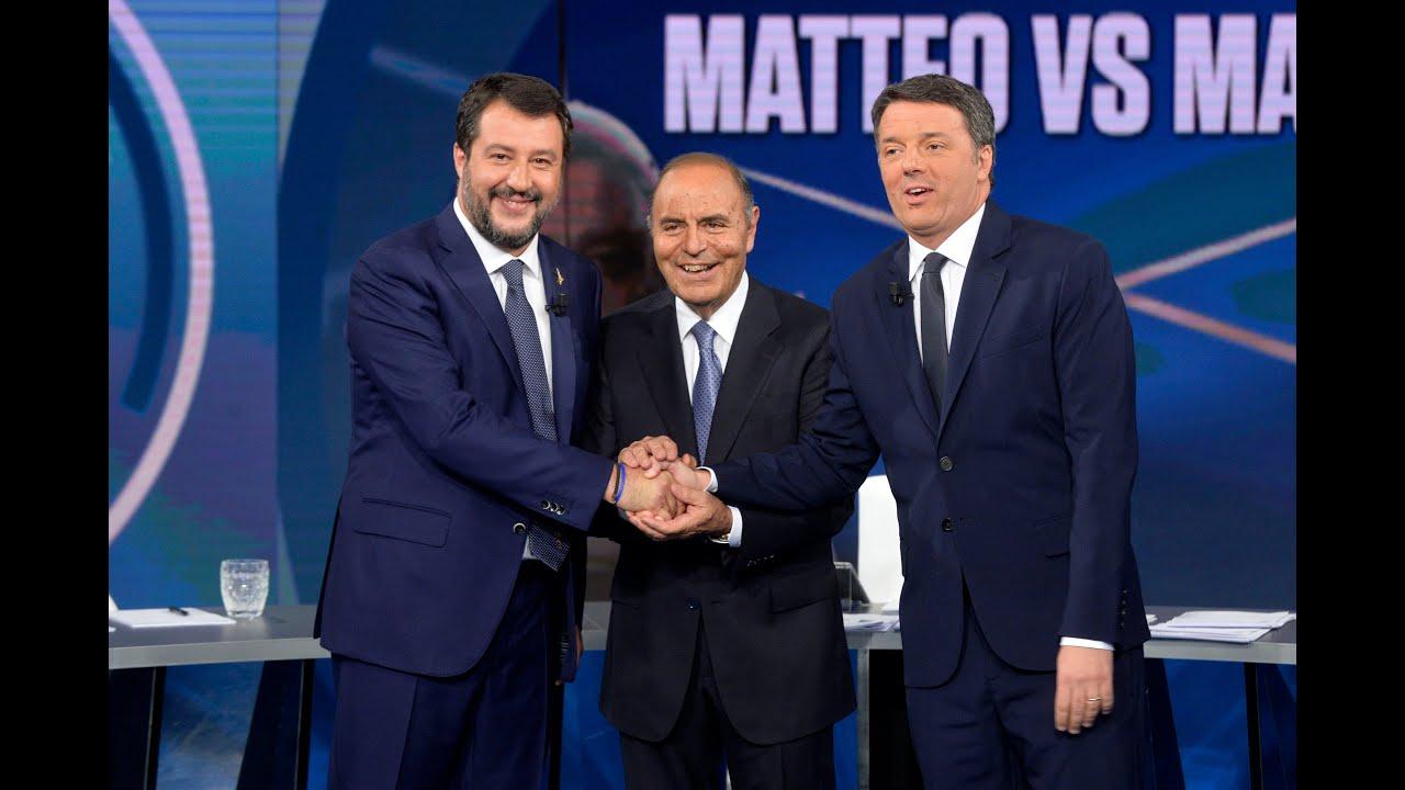 Matteo Renzi a confronto con Matteo Salvini (15/10/2019)