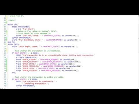 SQL Server Error and Transaction Handling