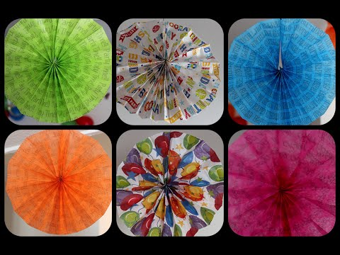 DIY: How to make Rosette Fans with tissue paper sheets | Birthdays decoration | Parties decoration