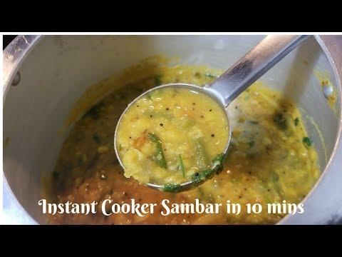 Instant Cooker sambar in Tamil | Quick and instant Sambar in 10 mins  | Bachelor's Sambar
