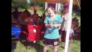 Haley sucking in helium.