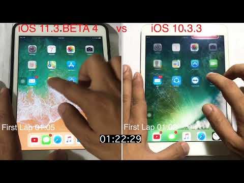iOS 11.3 BETA 4 vs iOS 10.3.3 on iPad mini 2 | Speed test | Comparison | TechViewer