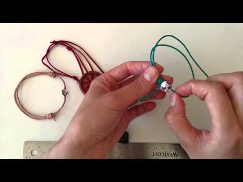 How to make an adjustable leather bracelet using slip knot / sliding knot