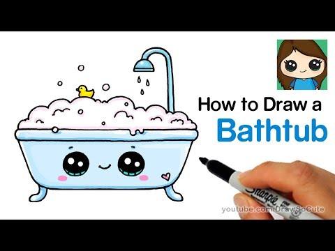How to Draw a Bathtub Bubble Bath Easy and Cute