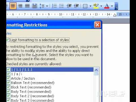 Microsoft Office Word 2003 Restrict formatting of a document