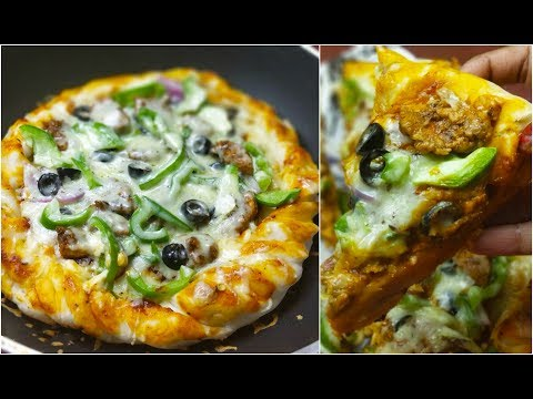 How To Make Cheese Burst Pizza At Home without Oven  on Pan/Tawa