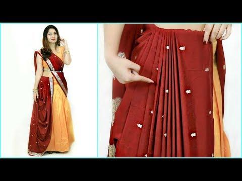 पुरानी सिल्क साड़ी से बनाये डिज़ाइनर साड़ी - How To Wear Lehenga Saree Perfectly | Anaysa