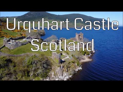 Drone Urquhart Castle on Lake Loch Ness Scotland