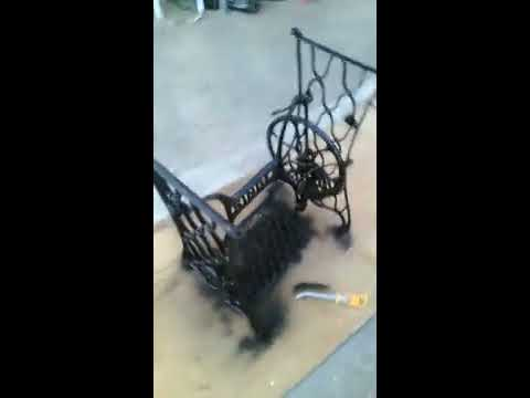 DIY Singer sewing machine frame for coffee table   spray painting
