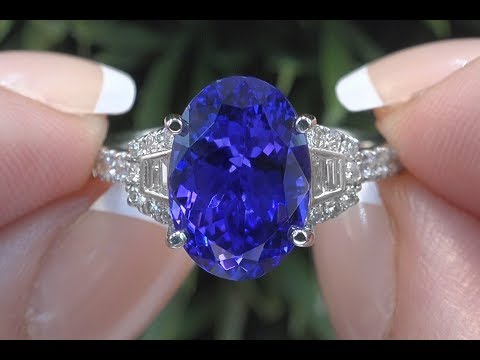 GIA Certified Violet Blue Tanzanite & Diamond Cocktail Ring 18k Gold 6.06 TCW - C1002