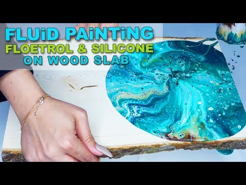 Fluid Acrylic Pouring Tutorial - FLOETROL & SILICONE Turquoise & Gold