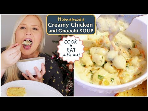 Creamy Chicken and Gnocchi Soup Mukbang (Eating Show) Cook and Eat with me!