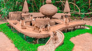 Abandoned And Starving Puppies Rescue Building Mud House And Underground Fish Pond