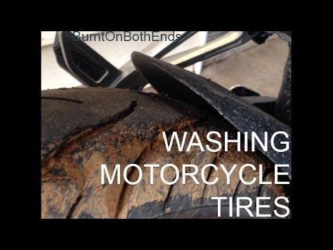 Washing Motorcycle Tires