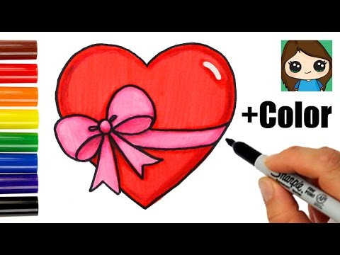 How to Draw a Heart with a Bow Ribbon Emoji Easy