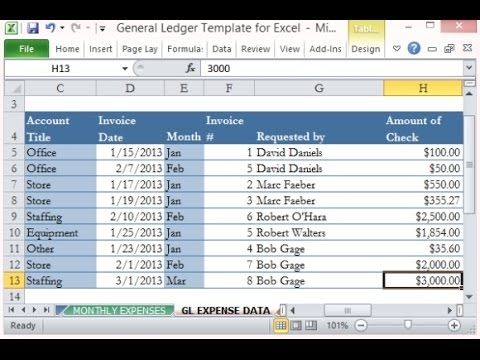 How to create General Ledger and Trial Balance with Excel