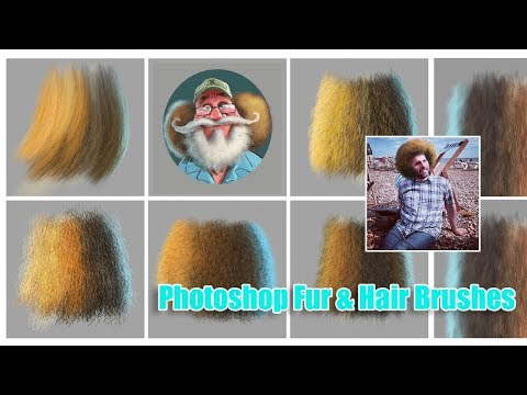 Photoshop Tutorial - Directional Fur/Hair Brush Demo (Custom Photoshop Brushes)