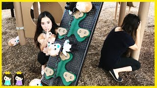 Boss Baby Plays Hide N Seek at the park playground with Princess ToysReview