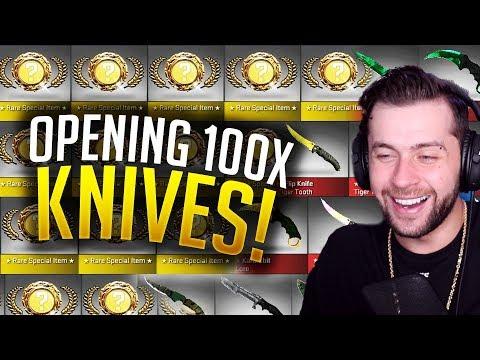 UNBOXING 100 CS:GO KNIVES!