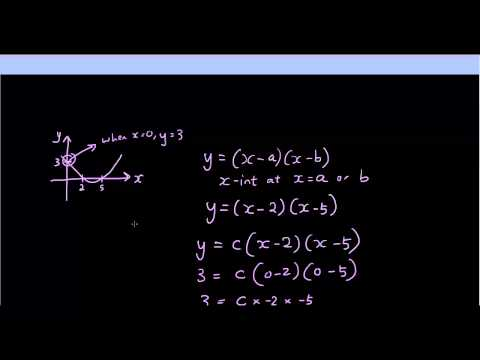 Quadratic Equation - Finding the equation of a parabola using x-intercepts and 1 other point