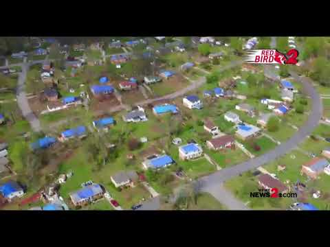 Red Bird 2 Drone: Tarps Cover Homes After EF-2 Tornado In Greensboro