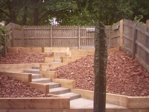 Time-Lapse Garden Landscaping: Railway Sleeper retaining walls, Stone steps & Indian Stone Paving