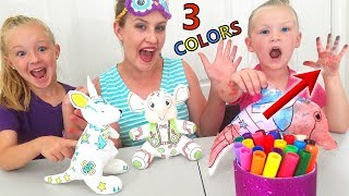 Download 3 Marker Plushie Challenge! Coloring Squishy Toys (Bear, Dog and Dinosaur) Video
