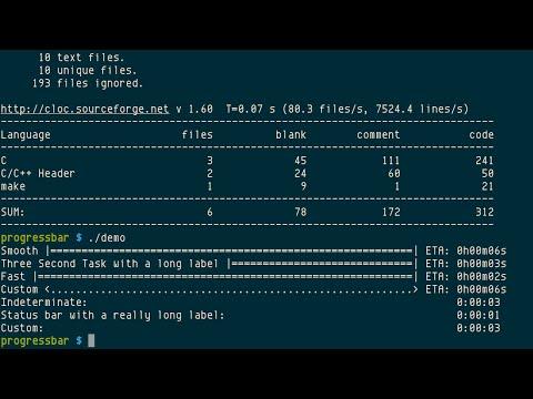 demo/examples of progressbar C library