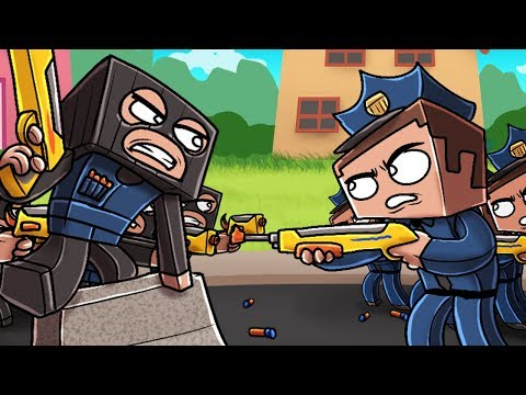 Minecraft - POLICE NERF WEAPONS: Bank Robbers! (Criminals vs Police)
