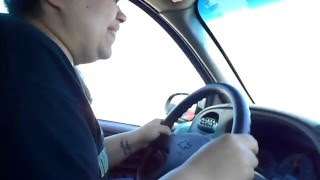 Scared driver going over Sunshine Skyway Bridge in Florida