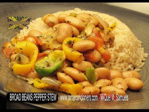 BROAD BEANS PEPPER STEW: Rastafarian Vegetarian Dinners Cookbook (ITAL recipe)