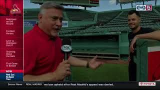 Joe Kelly shows Jim Hayes the Red Sox bullpen