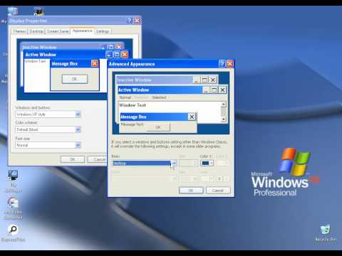 how to change icon font in windows xp.avi