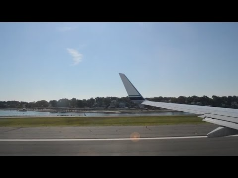 Alaska Airline 737-800 Smooth Takeoff From Boston Great Islands View