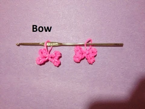 How to Make Rainbow Loom Bow Charm Just Using a Crochet Hook - Original Design
