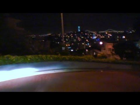 Drive down Lombard Street Nighttime, San Francisco California