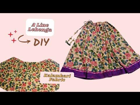 Easiest A-Line Lehenga cutting and stitching [ Hindi ]- DIY