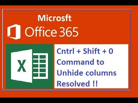 How to  resolve Office 365 Excel column unhide command issue