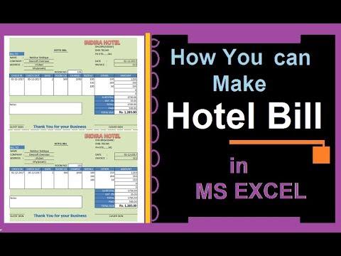 Create Hotel Bill Receipt   Excel 2007   simple & Easy Process