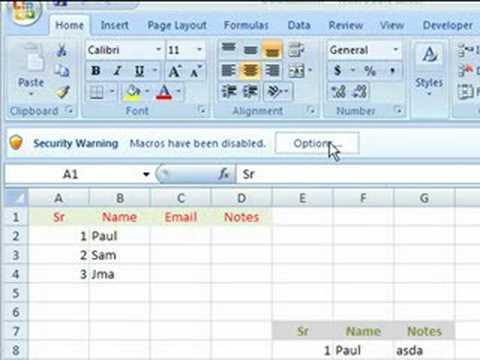 VideoExcel - Macro Security in Excel 2007