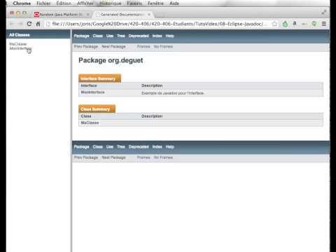 Eclipse Java : génération de Javadoc