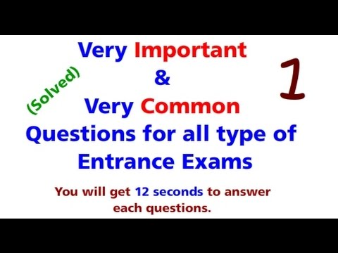 Very common and important questions for all type of entrance exams| UPSEE| JEE