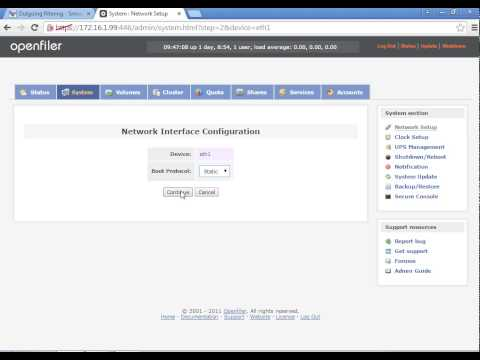 OpenFiler - Network Configuration Part 1