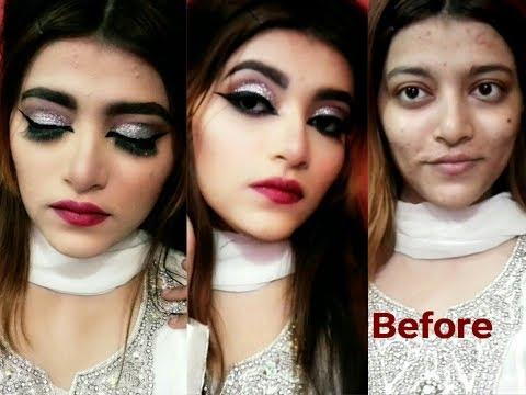 Silver Glitter Glam makeup tutorial in urdu/hindi