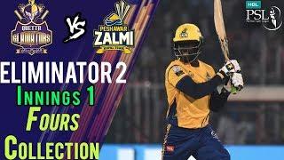 Peshawar Zalmi  Fours | Karachi Kings Vs Peshawar Zalmi|Eliminator 2 |21 Mar | HBL PSL 2018