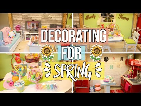 DECORATING MY DOLLHOUSE FOR SPRING/EASTER! | American Girl Dollhouse Decorating 2018